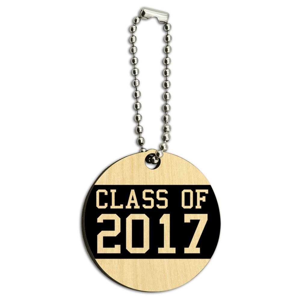 Class of 2017 Graduation Wood Wooden Round Key Chain