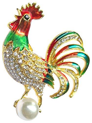 - Bijoux De Ja Gold Tone Enamel Rhinestone Pearl Fighting Cock Rooster Brooch Pin for Women (Gold Tone)