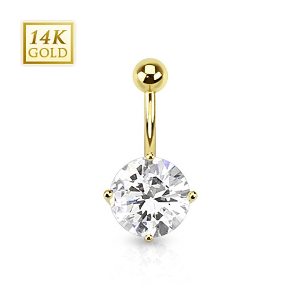 West Coast Jewelry 14 Karat Solid Yellow Gold Cubic Zirconia Round Prong Set Navel Belly Button Ring (Sold Ind.)