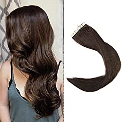 """Full Shine 14"""" 40Pcs 100Gram Tape in Human Hair Straight Hair Extension Color #4 Middle Brown Double Side Remy Tape Hair Extension"""