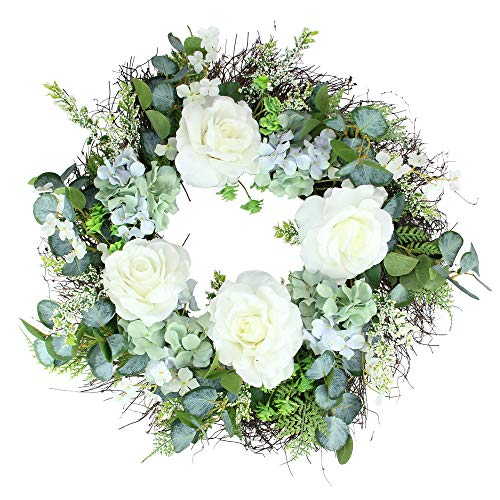 Northlight Peony, Geranium and Eucalyptus Artificial Twig Spring Wreath, White and Blue 24-Inch ()