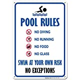 Pool Rules Sign, No Diving No Running No Food No Glass, 10x14 Rust Free .040 Aluminum UV Printed, Easy to Mount Weather Resistant Long Lasting Ink Made in USA by SIGO SIGNS