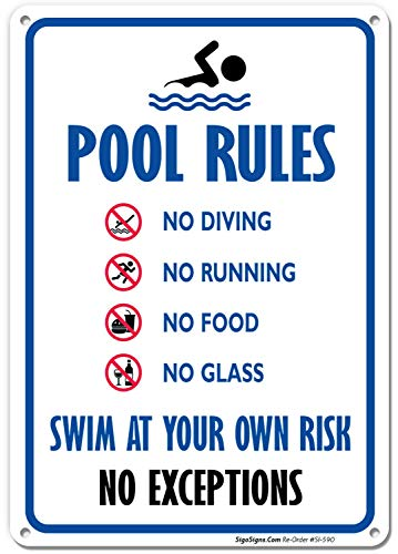 Pool Rules Sign, No Diving No Running No Food No Glass, 10x14 Rust Free Aluminum UV Printed, Easy to Mount Weather Resistant Long Lasting Ink Made in USA by SIGO SIGNS