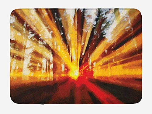 - WCMBY Country Bath Mat, Photo of Magical Sunbeams Trees at Sunset in The Forest Nature Scenery Print, Plush Bathroom Decor Mat with Non Slip Backing, 23.6W X 15.7 W Inches, Yellow Orange