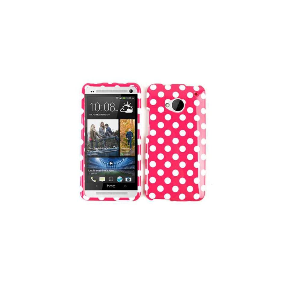 Cell Armor Snap On Case for HTC One   Retail Packaging   White Dots/Hot Pink