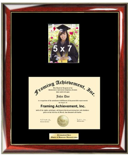 University Diploma Frame Personalized Gold or Silver Engraved Plate - College Diploma Frame with 5 x 7 Graduate Photo Opening - Premium Wood Glossy Prestige Mahogany with Gold Accents - Single Black Mat