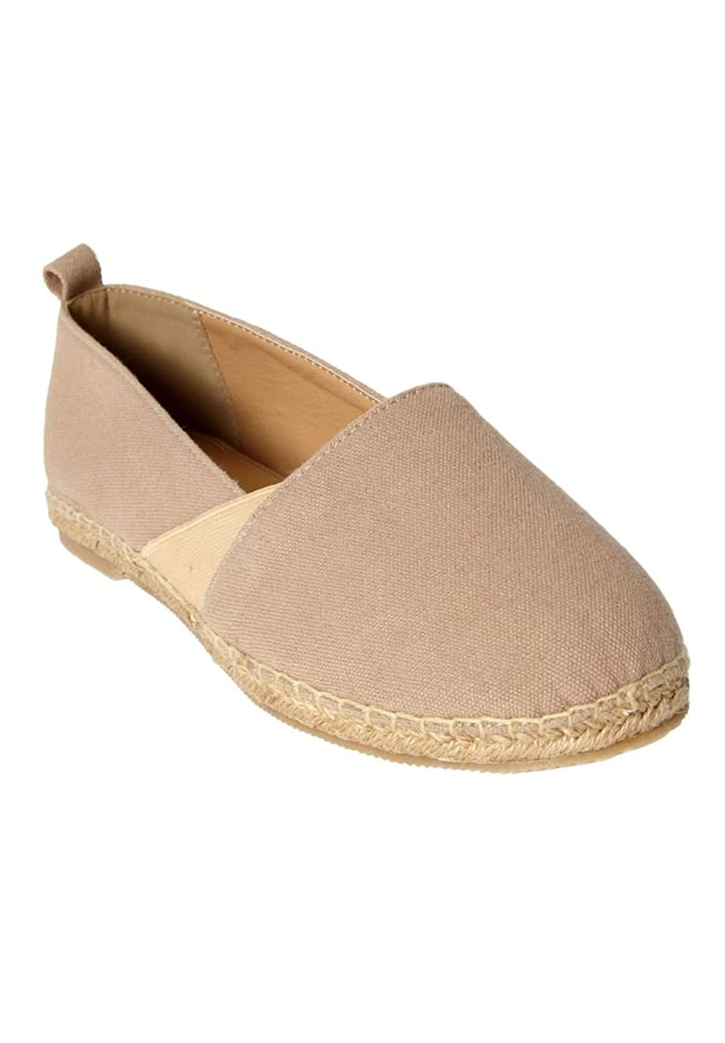 Comfortview Women's Plus Size Ginger Espadrille Flats Natural,7 1/2 M