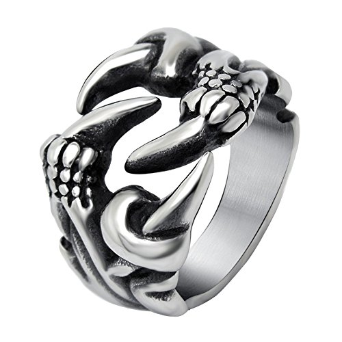 FANSING Costume Jewelry Halloween Gift Men's Stainless Steel Punk Dragon Claw Rings