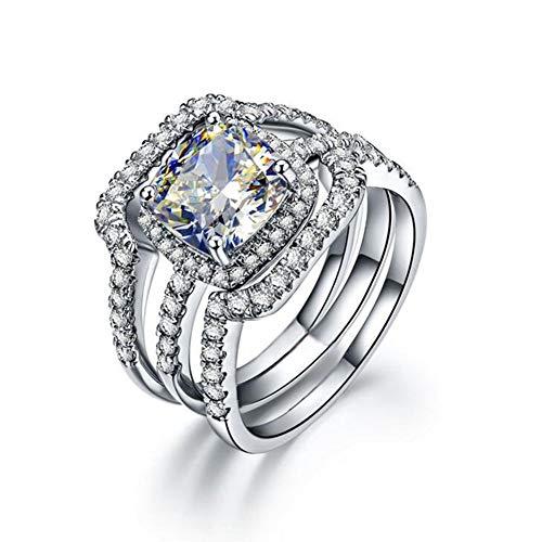 Erllo 3 Carat Cushion Cut Ring Set 925 Sterling Silver Women Wedding Cubic Zirconia Engagement Ring (4.5)