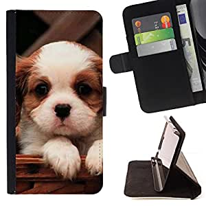 For LG Nexus 5 D820 D821 Cavalier King Charles Spaniel Cute Puppy Leather Foilo Wallet Cover Case with Magnetic Closure