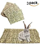 loveone Grass House for Rabbits, (TM) Natural Safe Hideaway Durable Chew Toy Mat Bed for Bunny/Hamster/Chinchillas/Guinea pigs/Ferret/Small Pets (3 pack mat)