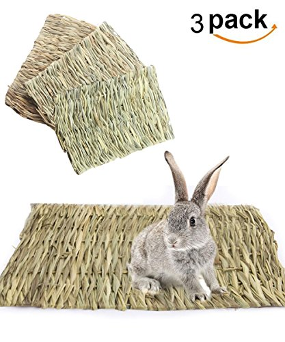loveone Grass House for Rabbits, (TM) Natural Safe Hideaway Durable Chew Toy Mat Bed for Bunny/Hamster/Chinchillas/Guinea pigs/Ferret/Small Pets (3 pack mat) by loveone