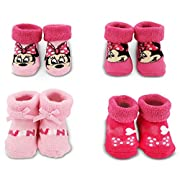 Disney Baby Minnie Mouse Polka Dot 4 Pair Terry Booties Gift Set, pink, 0-12M