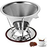 Pour Over Coffee Maker - Clever Coffee Dripper - Reusable Coffee Filter Permanent Stainless Steel Paperless Drip Cone 4-6 Cup for Osaka Chemex Hario Bodum Carafes with Cup Stand Holder by ALQ
