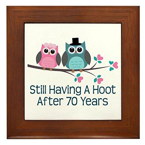 Anniversary Keepsake Tile - CafePress - 70th Anniversary Owls Framed Tile - Framed Tile, Decorative Tile Wall Hanging