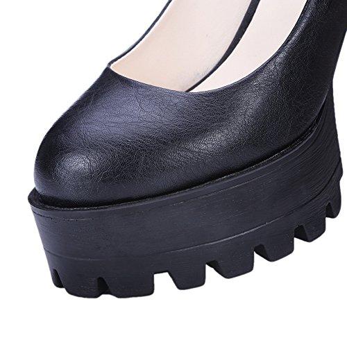 Balamasa Girls Tacco Basso Tomaia In Chunky Tacco Piattaforma In Microfibra Pumps-shoes Nero