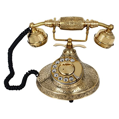 Artshai Antique Look Brass Maharaja Working Old Style landline Telephone with Rotary dial