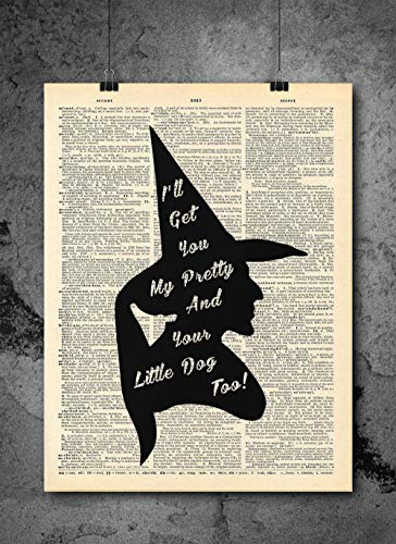 Wicked Witch Wizard Of Oz - Quote Wall Art - Vintage Art - Authentic Upcycled Dictionary Art Print - Home or Office Decor - Inspirational And Motivational Quote Art]()