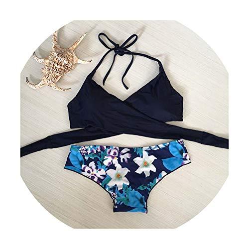 Halter Swimwear Bikini 2019 Floral Print Thong Bikini Blue Set Women Bikini Brazilian Swimwear,2,S for $<!--$19.83-->