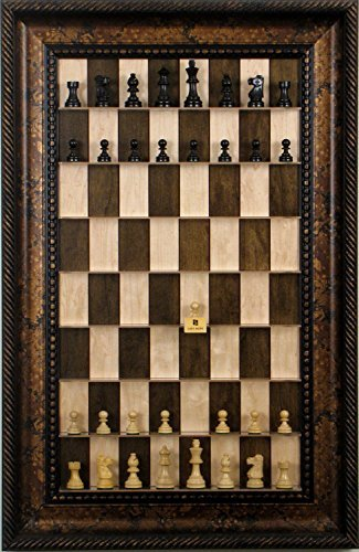 (Simple Staunton chess pieces on vertical wall mounted Maple Nut Series Straight Up Chess board with the Black Gold Frame)