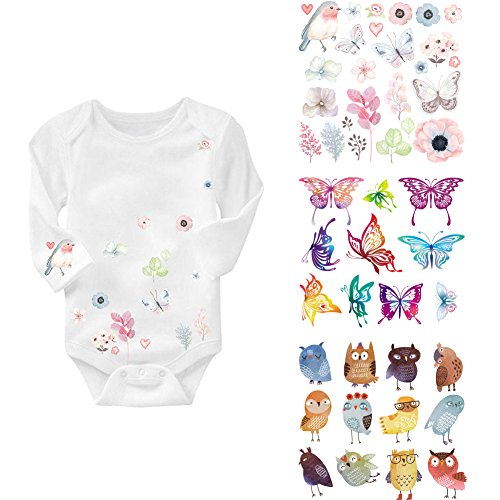 1st Birthday Iron on Patches Decoration - 4 Series Heat Transfer Stickers Patch for Kids. Lovely Cartoon Butterfly Birds Animal Design for T Shirts Clothes, Baby Dress