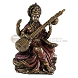 Hindu Goddess Saraswati Playing the Vina Bronze Finish Statue Sculpture Figurine Sarasvati