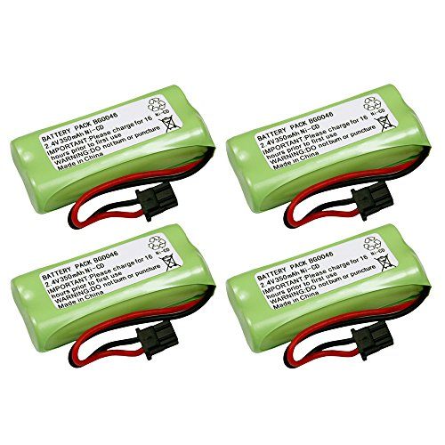 4 Pack Fenzer Replacement Cordless Phone Rechargeable Battery for Uniden DECT 2080-2W 20802W 2080-3 20803 2080-5 20805 DECT2080-2W DECT20802W DECT2080-3 DECT20803 DECT2080-5 (2w Dect Cordless Phone)