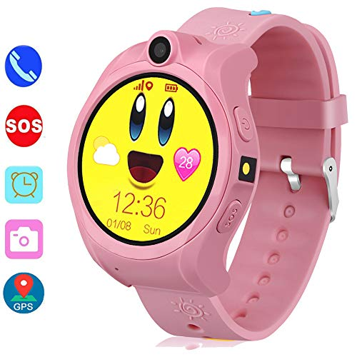 Smart Watch for Kids, GPS Tracker Kids Smart Watch for Girls Boys with SOS Camera Alarm Clock Game 1.44 inch Touch Screen Sport Fitness Tracker Smart Watches (Pink)