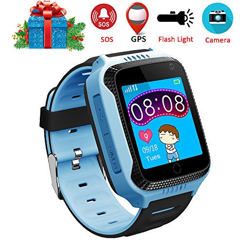 Dxrise Games Kids Smart Watch Kids Watches GPS Tracker Watch Phone GPS Smartwatch Smart Baby Watch Bracelet with Camera Flashlight Function for Girls Boys Toys Gift (Blue)