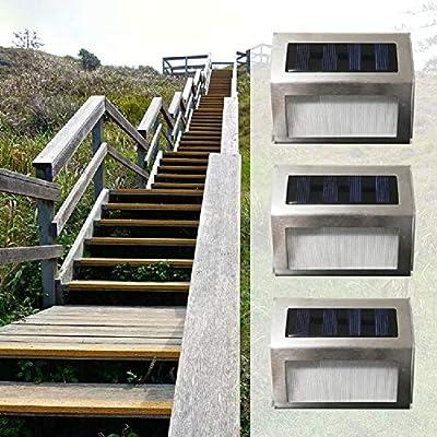Lámpara de pared solar de acero inoxidable, luz de escalera, luz ...