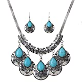 Clothing Accessories Girls Best Deals - YAZILIND Turquoise Earrings Charming Necklace Clothing Accessories Jewelry Set for Girl