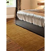 Rugsotic Carpets Hand Knotted Loom Woolen 2 6 x 13 Solid Runner Rug Gold L00111 K01006
