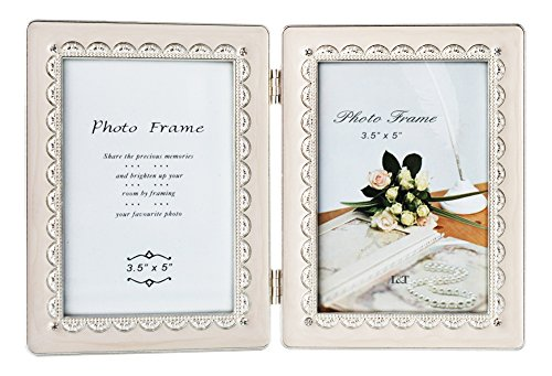 (L&T Hinged Double Picture Frame Silver Metal with Ivory Enamel and Crystals 3.5x5 Inch)