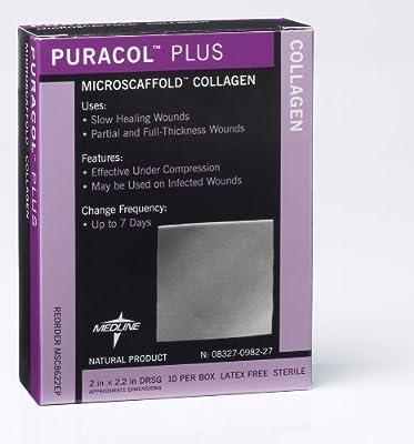 "Medline MSC8644EPZ Puracol Plus Collagen Dressings, 4"" x 4"" (Pack of 10)"