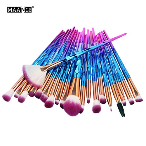 Challyhope Make-ups 20 Pcs Mermaid Makeup Brushes Set Professional Eye Makeup Brushes for Eyeshadow Concealer Eyeliner Brow Blending Brush Tool Kits (Multicolor)