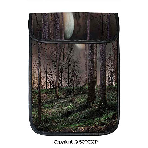 SCOCICI Protective Storage Carrying Sleeve Case - Dark Night in The Forest with Full Moon Horror Theme Grunge Style Halloween Compatible with 12.9 Inch iPad Pro Tablet