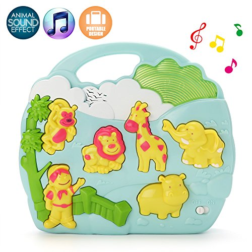 LotFancy Toddler Entertainment Toy, with Music and Elephant, Monkey, Lion, Hippo, Giraffe Sounds, for Infant Above 18 Months, BPA Free