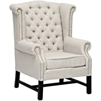 Baxton Studio Sussex Beige Linen Club Chair BH-63102