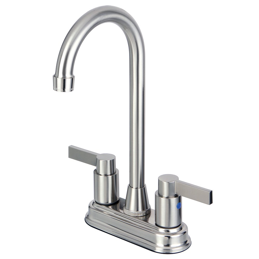Kingston Brass KB8498NDL 4-3/4-Inch in Spout Reach NuvoFusion Two Handle 4-Inch Centerset Bar Faucet, Satin Nickel