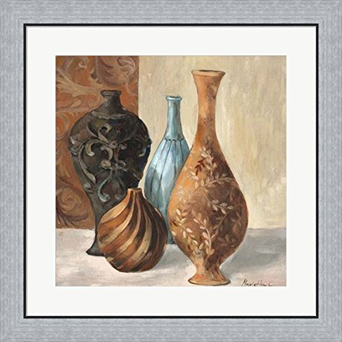 Spa Vases I by Marietta Cohen Framed Art Print Wall Picture, Flat Silver Frame, 26 x 26 inches