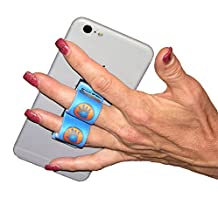 LAZY-HANDS 2-Loop Phone Grip - FITS MOST - Blue Hand-In-Circle