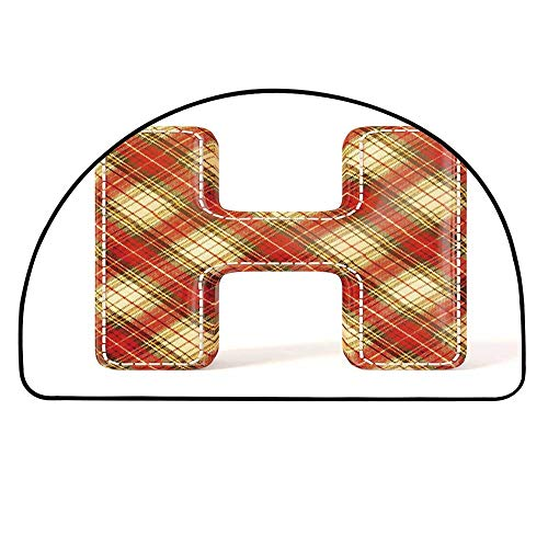 (YOLIYANA Letter H Half Round Door Mat,Old Fashion Cloth with Stitches Checkered Plaid Typography Image Decorative for Indoor Outdoor,15.7