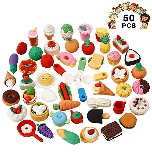 Geefia Pencil Erasers for Kids, 50 Pcs Assorted Food Cake Dessert Erasers, Birthday Party Favors School Classroom Rewards Novelty Toys -