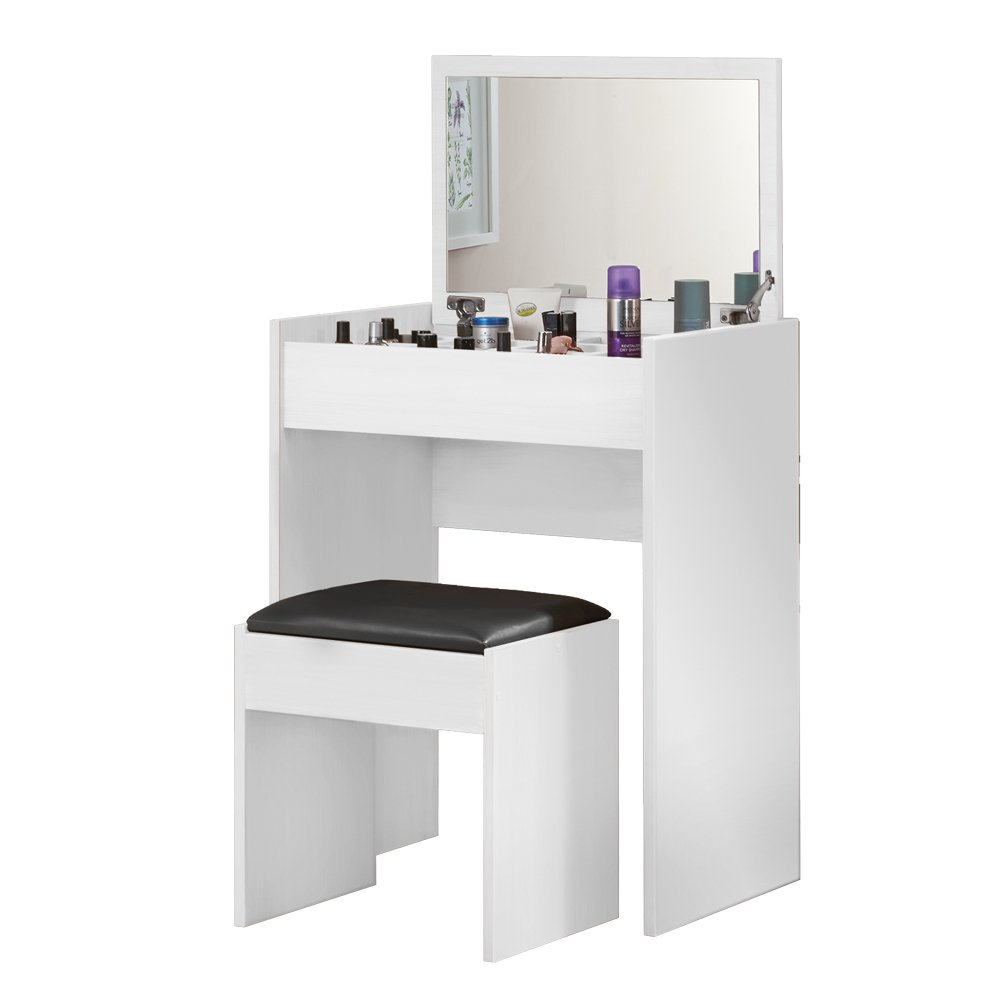 Beautiful You Wooden Dressing Table Desk Padded Stool with Flip Up Mirror & 10 Storage Spaces (White) Clifford James