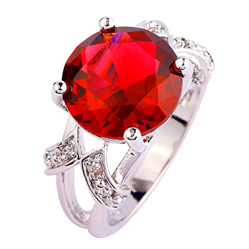 (Psiroy 925 Sterling Silver Created Ruby Spinel Filled Solitaire Promise Ring Size)