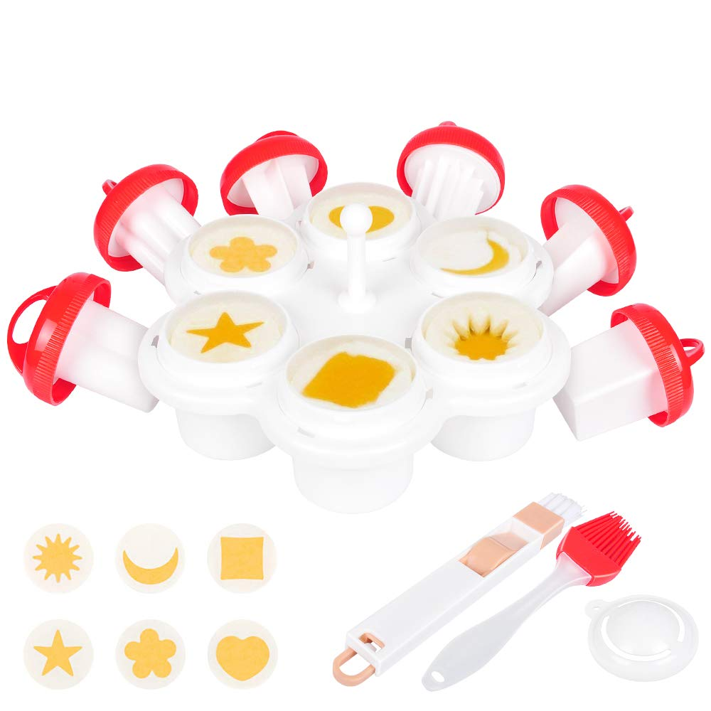 Luxamary Egg Cooker Set,Patterned Egg Cooker and Mold Maker,6 Shapes Yolk Mold Microwave Egg Cooker-Egg Holder,Egg Separator,Oil and Cleaner Brush