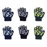 EvridWear Boys Girls Magic Stretch Gripper Gloves 3 Pair Pack Assortment, Kids One Size Winter Warm Gloves Children (2Pack Camo)