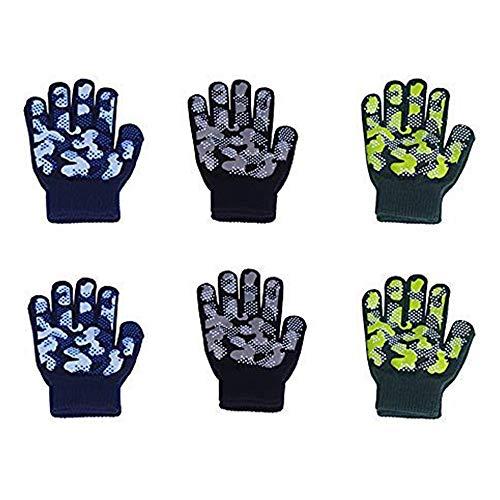 Magic Childrens Gloves (EvridWear Boys Girls Magic Stretch Gripper Gloves 3 Pair Pack Assortment, Kids One Size Winter Warm Gloves Children (2Pack Camo))