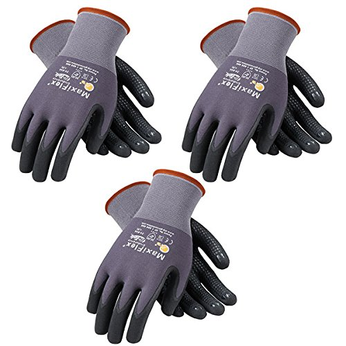 ATG 3 Pack MaxiFlex Endurance 34-844 Seamless Knit Nylon Work Glove with Nitrile Coated Grip on Palm & Fingers, Sizes… 1