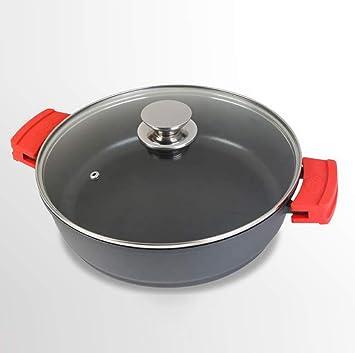 WeCook 10136 Cazuela de Cocina Inducción Profesional, Tapa de Cristal, Cacerola Antiadherente, Libre de BPA, 36 cm, Aluminio Forjado: Amazon.es: Hogar